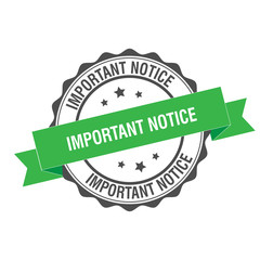 Important notice stamp illustration