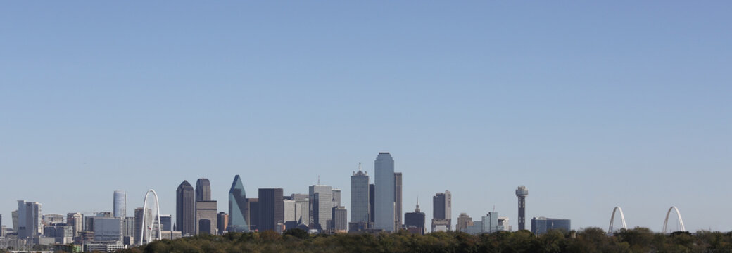 Dallas Texas Skyline, Two Bridges view looking east from I-30, two bridges signature view.