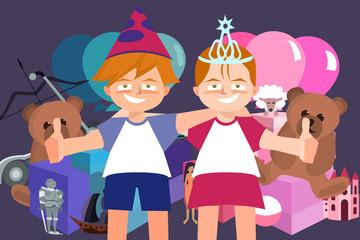 twins birthday celebration party vector cartoon