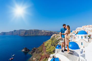Young couple on island of Santorini