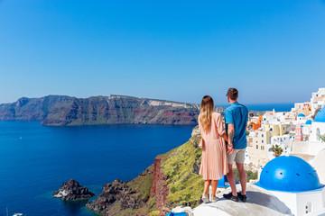 Young couple on island of Santorini