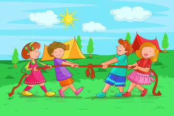 Kids playing and enjoying tug of war in summer vacation