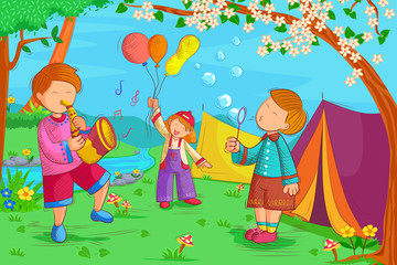 Kids playing and enjoying in summer vacation
