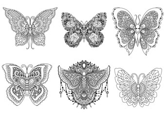 six butterflies design for tattoo, design element, t shirt design, adult or kids coloring book pages. Vector illustration