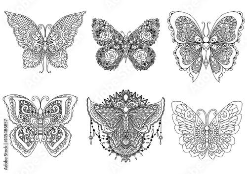 Six Butterflies Design For Tattoo Element T Shirt Adult Or Kids