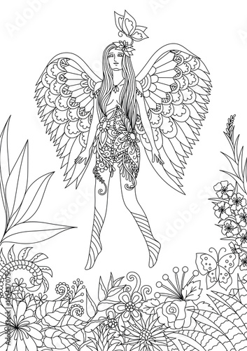 """""""Beautiful fairy girl flying and playing with butterfly in ..."""