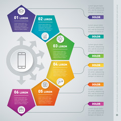 Part of the report with icons set. Vector infographic of technology or education process. Business presentation concept with six options. Web Template of a chart or diagram.
