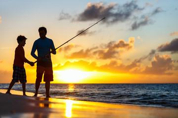 Printed kitchen splashbacks Fishing Family fishing