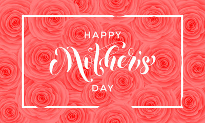 Happy Mother Day pink flowers pattern vector greeting card
