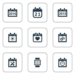 Vector Illustration Set Of Simple Date Icons. Elements Renovation Tools, Intelligent Hour, Annual And Other Synonyms Repair, Reminder And Deadline.