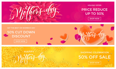 Mother Day Sale web banners with vector hearts and flowers