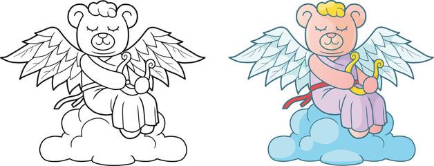 Cute angel teddy bear sitting on the cloud