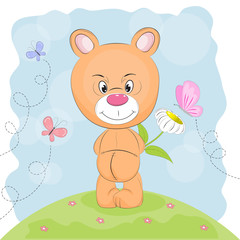 Cute  bear with flower and butterflies on a meadow.