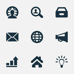 Vector Illustration Set Of Simple Trade Icons. Elements Human, Home, World And Other Synonyms Files, News And Magnifier.