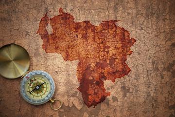 map of venezuela on a old vintage cracked paper