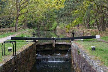 Basingstoke Canal Lock: A lock on the Basingstoke Canal in the Spring, near Pirbright, Hampshire, England, UK.