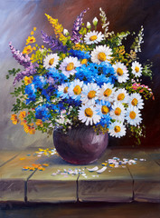 Oil painting on canvas, still life flowers