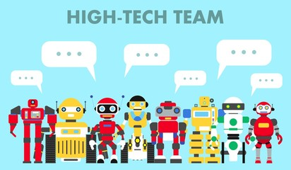 Group of different abstract robots standing together and speech bubble on blue background in flat style. High-tech team concept. Flat design characters. Vector illustration.