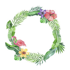 Tropical wreath with flamingo and flowers