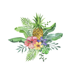Tropical arrangement with flowers and pineapple