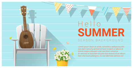 Hello summer background with ukulele on white chair , vector , illustration