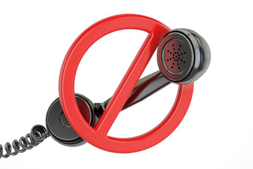 No phone call concept. Red prohibition symbol with telephone receiver, 3D rendering