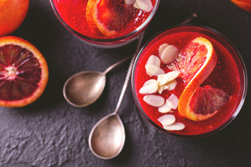 Chia pudding with fresh bloody orange and jam