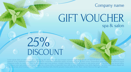 Gift voucher. Gift Certificate. Gift card. Coupon template. Background for shop, beauty salon, spa and invitation. Mint leaves among the bubbles in the water. Vertical