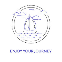 Traveling horizontal banner with sailboat on waves, clouds in circle for trip, tourism, travel agency, hotels, recreation card.