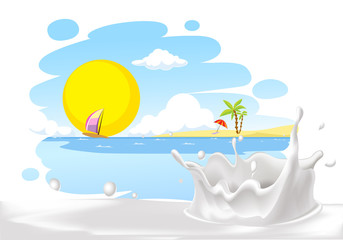 painted summer beach landscape with milk splash design - vector illustration