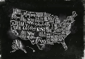 Map USA vintage chalk