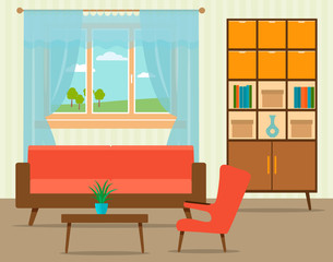 Living room interior design in flat style including furniture, cabinet, sofa, table with armchair and window.