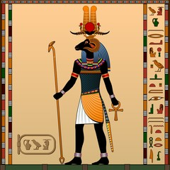 Religion of Ancient Egypt. Khnum is the God of creation, the god of water and the evening sun. Ancient Egyptian god Khnum in the guise of a man with a ram head. Vector illustration.