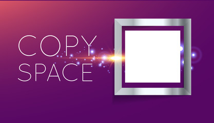 abstract silver frame in square with shine sparkles isolated on purple background