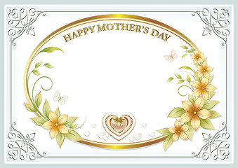 Greeting card for Mother's Day in gold design
