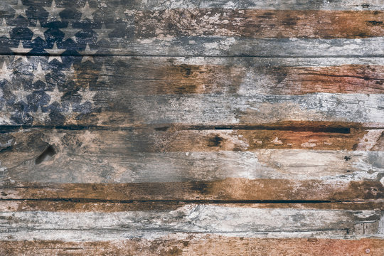 Memorial Day background / American Flag fade on wood background, for Independence Day background. Grunge style.