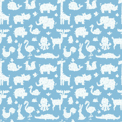 Animal clouds silhouette pattern vector illustration seamless pattern