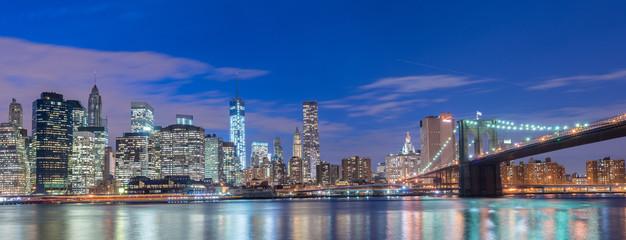 Night view of Manhattan and Brooklyn bridge