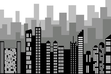 Black random city skyline Vector on white background.