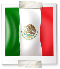 Mexico flag on square paper
