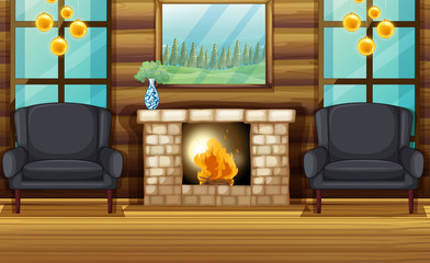 Room with black armchairs and fireplace
