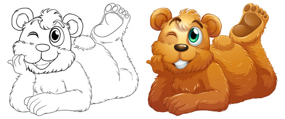 Doodle animal character for bear