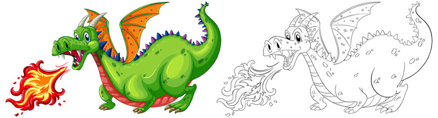 Doodle animal for dragon blowing fire