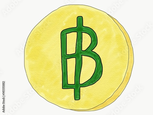 Abstract Hand Draw Doodle Thai Baht Sign On Coin Isolate