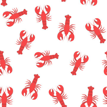 red lobster flat seamless pattern