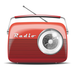 Red Vintage Radio. Vector illustration