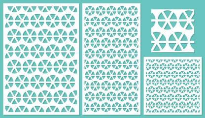 Set of decorative panels laser cutting. a wooden panel. Round geometric repeating pattern of shared lines. The ratio 2:3, 1:2, 1:1, seamless. Vector illustration.
