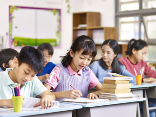 asian elementary students in class