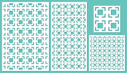 Set of decorative panels laser cutting. a wooden panel. Modern elegant square geometric pattern allover. The ratio 2:3, 1:2, 1:1, seamless. Vector illustration.