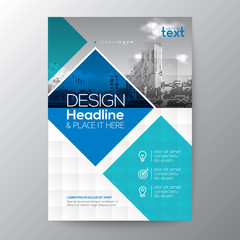 Blue and teal diamond shape graphic background for Brochure annual report cover Flyer Poster design Layout template